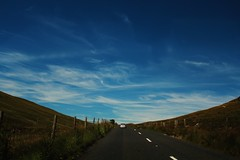 Two-Lane Blacktop (Aaron Pennett) Tags: northern ireland ni mourne mountains road roadside sky blue hill blacktop white marking