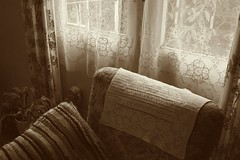 interior (=Mirjam=) Tags: nikond750 52weeksof2016 discarded pixlr sepia oldfashioned chair curtains old augustus 2016