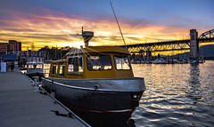Star'board (Images by Christie  Happy Clicks for 2016!) Tags: granvilleisland starboard watertaxi yacht sky water falsecreek pier dock burrardstreebridge burrardbridge vancouver bc canada sunset dusk photography explore fave night evening nightphotography