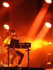 (kristen mckeithan) Tags: eaux claires 2016 eauxclaireswi music festival eau claire wisconsin august nightfall night dark justin vernon bon iver 22 million orange red light 12th