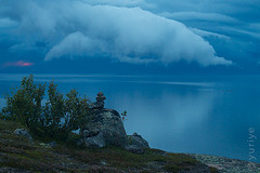 After the storm (yuriye) Tags: yuriye whitesea sea blue twilight cloud sky water reflection mirror stone seascape rock seid seidr dark night sun cold calm infinity        island north russia     kuzova kuzov