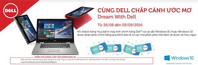 """Khuyến mại Laptop Dell: """"Cùng Dell chắp cánh ước mơ"""" Back to school 2016"""