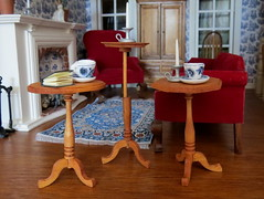 Miniature Candle Stands (Foxy Belle) Tags: dollhouse miniature stain house miniatures table candlestand side colonial sitting room parlor living toile blue wallpaper vintage red velvet sofa chair fireplace tile white ooak hard wood floor tea