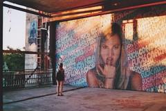 (felixmm.) Tags: felix machleid film minolta analog analogue minoltax700 minolta700 35mm vintage berlin teufelsberg mural graffiti graffity architecture beton sunset plattenbau hip vice vicemag hipster girl back