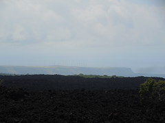 Lava Field and South Point Wind Turbines (jimmywayne) Tags: hawaii hawaiicounty lava regrowth landscape oceanview kau southpoint