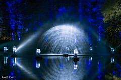Week 40 - Night (Scotty Rae) Tags: pitlochry enchantedforest scotland night reflection lights lake water trees forest lit perthshire