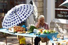 Homegrown (Five Second Rule) Tags: split croatia dalmatia summer market fresh fruit flowers colourful bright selling vendor stall women parasol