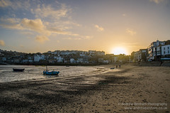 After the crowds have gone (andrew benham) Tags: light sunset sea sky landscape boats seaside cornwall harbour stives 2015