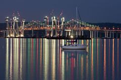 Reflections (reyherphoto) Tags: longexposure newyork color art water architecture reflections photography boat construction colorful hudsonriver tappanzeebridge marshallreyher