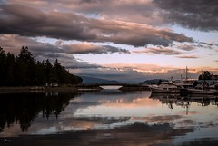 Mirror-like (Janey Song) Tags: park bridge sunset reflection water clouds boats stanleypark vancouvercanada omot cans2s
