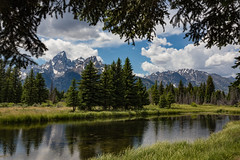 Schwabacher Landing (Amar Raavi) Tags: sky mountains reflection water clouds river landscape outdoors nationalpark unitedstates scenic snakeriver wyoming framing teton tetons nationalparkservice grandteton jacksonhole tetonrange grandtetonnationalpark nezperce schwabacherlanding mountowen