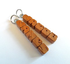 Cherry Wood MiniTags (DustyNewt Scott) Tags: wood wooden woodworking personal personalized name minitag gifttag zipperpull charm pendant handmade fob cherry jacob james