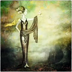 Elegant Lady (schlicht.karin) Tags: art bird blueeyes butterfly elegant flower girl green hand lady leaves orange scarf yellow