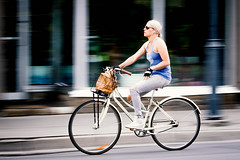 White on White (Dan Dewan) Tags: stphotographia blond bicycle bankstreet centretown white girl woman lady canon july ottawa ontario street people wheels panning motion basket canon7dmarkii canonef70200mm14lis