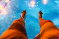 Pool (VBuckley.com) Tags: vintage splittone grain outdoor summer night julymilwaukee friends happy downtown pool outdoorpool poollights feet boardshorts blue orange
