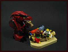 Rex! Dinnertime! (Karf Oohlu) Tags: lego moc minifig vignette beast dinnertime feeding feedingtime