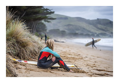 Waiting (red stilletto) Tags: apollobay apollobayvictoria apollobaybeach thegreatoceanroad thegreatoceanroadvictoria greatoceanroad greatoceanroadvictoria surf surfer surfing surfergirl beach sea ocean oceanbeach autumn surfboard surfers hills mountains mist blondehair blonde wetsuit