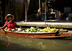 Fruit Lady (mysticislandphoto) Tags: travel thailand market floating canal bangkok people