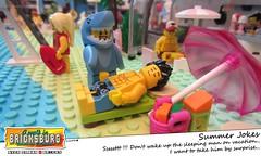 Summer Jokes (EVWEB) Tags: lego minifigures bricksburg summer fun humor comics cartoon beach sea surf shark jaws guy suimsuit sleep wakeup sleeping surprise baywatch guard coast swimwear