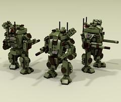 """""""Hunter"""" Light Mech (-Lee Barton-) Tags: lego ldd lddtopovray lightmech military missilelauncher povray mech"""