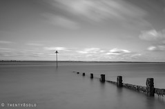 Westcliff (twenty8solo) Tags: river thames estuary coast d90 nikon post seascape longexposure blackandwhite essex southend westcliff seadefence groyne