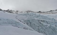 Everest: traffic on Lhotse face (Kuntal Joisher) Tags: everest everestbasecamp lhotseface camptwo mountaineering adventure