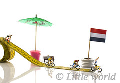 bike races on small tape measure (compuinfoto) Tags: miniature bike racing tap bicycle yellow red green studio littleworld measure flag white finisch sport game fast speeds first second people watching