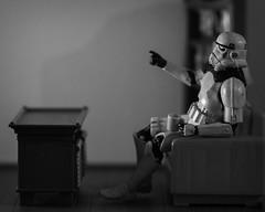 What's on TV? (G. Morgenweck) Tags: 2016 bw blackandwhite photography processing starwars stilllife stormtrooper toys