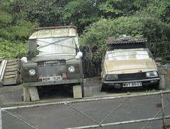 1972 LAND ROVER - 1979 AUSTIN PRINCESS HL (shagracer) Tags: abandoned unloved neglected decaying dead dying dull faded forgotten flat mat paint paintwork work wreck slime gruby grime sorn laid stood up 2200 1820 austin morris 1800 land rover 109 wht860t wbm352k princess hl