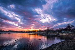 Birdtown Sunset (Doug Wallick) Tags: sunset lake ice water beautiful minnesota clouds reflections march colorful crystal ducks shore burst 2015 robbinsdale