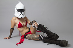 Mellany (austinspace) Tags: portrait woman trooper studio washington starwars model spokane helmet dancer clone alienbees