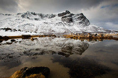Mountain Reflected (Nigel Jones QGPP) Tags: winter mountain snow cold reflection water norway norge spring still calm glacier arctic fjord arcticcircle