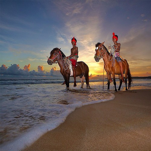 Horseman Pasola warriors perform at @Nihiwatu beach Sumba. Pasola is a thanks giving ceremony to the ancestral spirit of people from West Sumba East Nusa Tenggara.