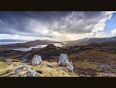 Loch Leathan with Armishader in the distance (Col-B) Tags: light sun beautiful canon landscape scotland moody isleofskye dramatic rays 1022 storr lochleathan canon60d armishader