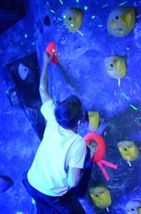 GRO_8316 (WK photography) Tags: chalk climbing blacklight bouldering grotto headlamp rockclimbing glowsticks guelphon rockshoes guelphgrotto
