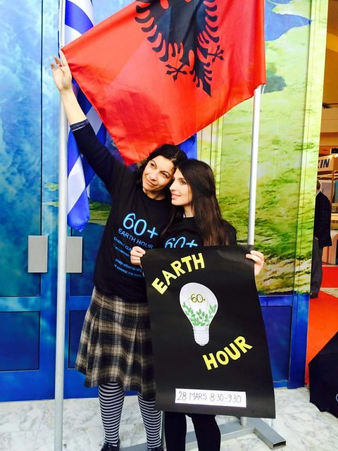 Earth Hour supporters at an event in Albania