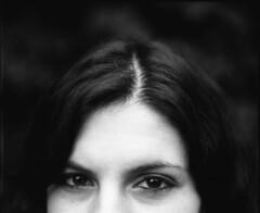 (Esther'90) Tags: autumn light portrait blackandwhite bw woman fall film face mediumformat garden natural half