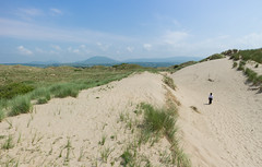 Away from the beach (Ricky Reardon) Tags: ocean road uk trip sea white beach girl wales landscape sand paradise outdoor dunes dune north atlantic abersoch grassy