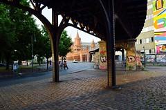 H D Streetlife (J @BRX) Tags: bridge metro ubahn oberbaumbridge oberbaumbrcke oberbaumstrase berlin germany deutschland streetphotography july2016 summer graffiti artwork sunset light shadow streetlife