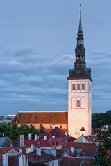 St. Nicholas' Church (McQuaide Photography) Tags: tallinn estonia europe northerneurope sony a7rii ilce7rm2 alpha mirrorless sonyzeiss sony55mmf18 55mm sonnar zeiss primelens fullframe mcquaidephotography adobe photoshop lightroom tripod manfrotto light longexposure colour outside outdoor viewpoint elevated kohtuotsa oldtown unesco heritage old toompeahill stnicholaschurch nigulistekirik church medieval architecture building structure skyline churchtower spire oldbuildings city dusk twilight exterior tower oldbuilding portraitformat