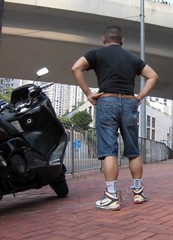 Still can go for a ride on a bike even in leg irons (asiancuffs) Tags: handcuffs handcuffed shackles shackled inmate prisoner sneaker
