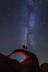 Galactic Travelers (David Colombo Photography) Tags: california longexposure blue red lightpainting rock night stars nikon arch astrophotography lonepine blm d800 milkyway alabamahills mobiusarch davidcolombo davidcolombophotography