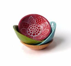 Color Doodle Bowl Set (jmnpottery) Tags: ceramics pottery jmnpottery etsy bowls pots planters utensilholder prepbowls mugs
