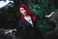 Lili Furyo - Melancholy of The Wind (Accalmia) Tags: witch witchy dark mlancolie melancholy expression woman red redhair hair model alternative forest nature wind black dress darkness sad sadness pain