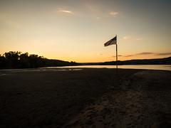This sand bar claimed for USA (hickamorehackamore) Tags: 2016 ct ctriver canon connecticut connecticutriver haddam haddammeadows fullmoon sandbar statepark summer sunset