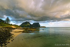 Afternoon light on Lord Howe Island (NettyA) Tags: lordhoweforclimate 2016 australia day7 janetteasche lhi lordhoweisland mtgower mtlidgbird nsw thelagoon unescoworldheritage beach clouds rocks sunset sand calm cloudy mountains coast seascape coastal landscape