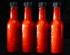 First Hot Sauce (jpmatth) Tags: digital color canon eos 7d lenstagged ef50mm25compactmacro food kitchen hot sauce lacto fermentation habanero redfresno garlic green onions bottle 2016