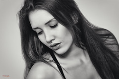 (yvind Bjerkholt (Thanks for 31,8 million+ views)) Tags: lips eyes face piercing hair beautiful sensual gorgeous pretty woman girl female she canon 50mm indoor glamour fashion portrait arendal norway feminine elegance classy bw blackwhite monochrome