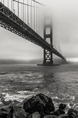 """Golden Gate Overcast"" (So Fluid) Tags: bridge goldengatebridge overcast weather grey greyskies cloudy cloud water thebay sanfrancisco oakland westcoast california northerncalifornia bay crossing golden gate structure architecture landscape landscapephotography blackandwhite bw blackandwhitephotography photography photo colorless canon canonrebel t5i sigma sigmalens sofluid rocks waves rough 17mm"