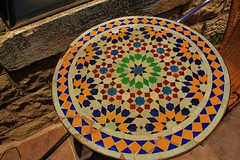 Middle Eastern Table-Top Tile (brianhendrick) Tags: beautiful tile table israel cafe pattern arabic symmetrical safed israeli tzfat moroccan middleeastern safad tzfas sfath